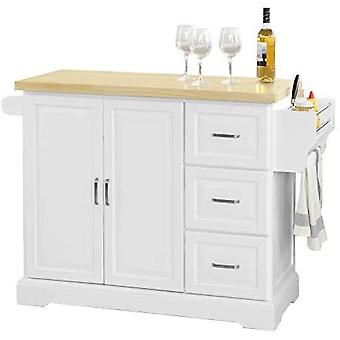 SoBuy Extendable Kitchen Island with four Castors, FKW41-WN