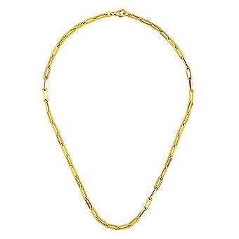 18k Yellow Gold Paperclip Links 4mm Lobster Claw Clasp Necklace Jewelry Gifts for Women - Length: 16 to 34
