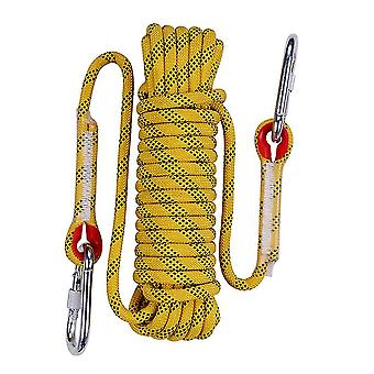 Yellow 10m 14mm thick multi-purpose outdoor climbing rope with 2 sewing buckles 2 figure 8 hooks homi4833