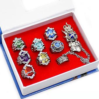 טבעת 8pcs סט 7 נולד מחדש טבעת אנימה 1 טבעת אצבע סיבובית עבור אוהדים Cosplay