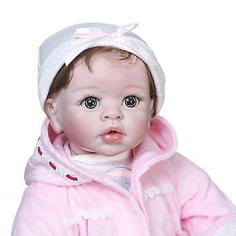 55Cm haute qualité nouveau design pinky bebe poupée renaître bébé fille en robe rose ensemble avec ours grandeur nature cadeau de Noël bébé