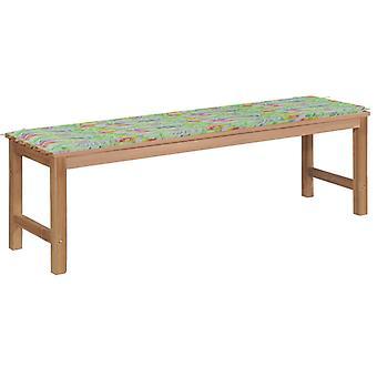 vidaXL garden bench with leaf pattern pad 150 cm solid wood teak