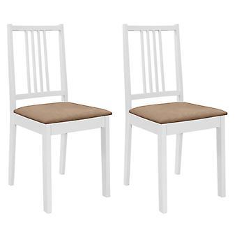 vidaXL تناول الطعام الكراسي مع المفروشات 2 PCS. الخشب الصلب الأبيض