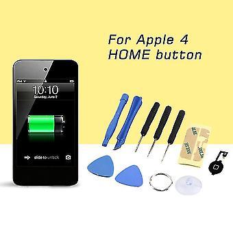 Αρχική κουμπί Flex καλώδιο μαύρο κλειδί καπάκι συναρμολόγηση + εργαλεία επισκευής για το iphone 4