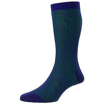 Pantherella Santos Shadow Rib Fil D'Ecosse Socken - Ultramarin blau