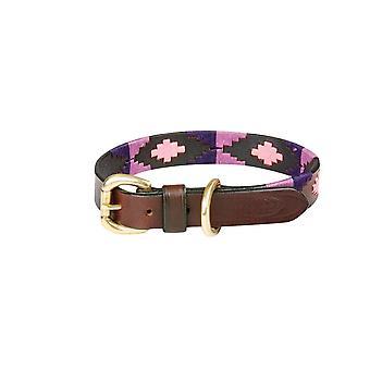Weatherbeeta Polo Leather Dog Collar - Cowdray Brown/purple/purple