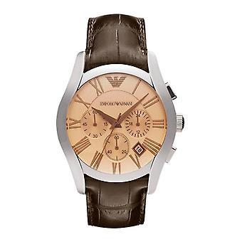Emporio Armani AR1634 cuero marrón Correa Dial Champagne romano números Dial Watch