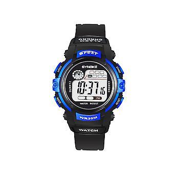Kinder elektronische Uhr Nachtlicht Wasserdichte Sportuhr Schwarz Blau