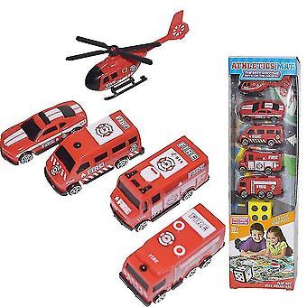 6pcsミニ消防車のおもちゃ子供の教育玩おもちゃ赤