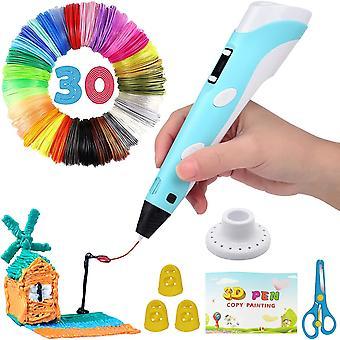 ذكي 3D القلم مع شاشة LED، قلم الطباعة 3D مع شحن USB، 30 ألوان PLA خيوط عبوات، متوافقة PLA وABS، الفنون الكمال الحرف هدية للأطفال والكبار، DIY الهدايا، (الأزرق)