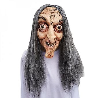 Horror Latex Witch Mask With Hair Halloween Dress Up Ghost Face Party Costume Cosplay Props One Size Suitable For Adults