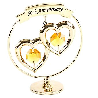 Holiday ornament displays stands 50th anniversary christmas gifts; Two hearts ring ornament made with swarovski elements