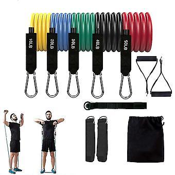 Motståndsband Set (11st), träningsband med dörrankare, handtag, bärväska, ben ankelband