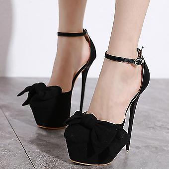 Dam high heel plattform klänning pump skor, fluga, stilett, fotled rem (38)(svart)