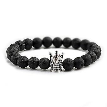 8Mm kiviset nastat rannekoru hänelle ja hänelle mukana kuningas ja kuningatar teemoja (Silver Crown Style 1)