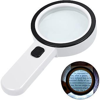 זכוכית מגדלת עם זכוכית מגדלת בהירה 12 לד מוארת