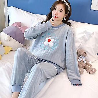 Coral Fleece Pyjamas Warm Flannel Pyjama Top + Hose Süße Cartoon