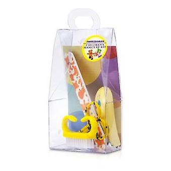TWEEZERMAN niños cuidado Kit: Nail Clipper + bebé Lima de uñas + cepillo + bebé uñas tijeras de uñas - 4pcs del bebé