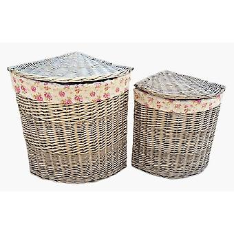 Antique Wash Corner Linen Basket Set 2 With Garden Rose Lining
