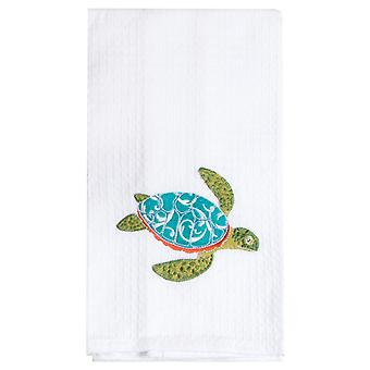 Island Time Teal Blue Sea Turtle Embroidered Waffle Weave Kitchen Dish Towel