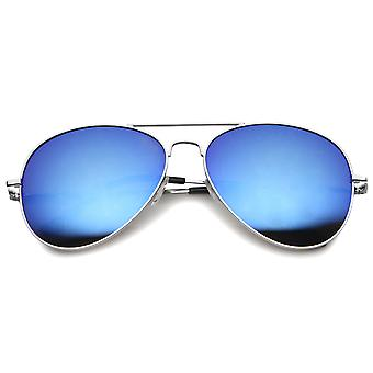 Color Tint Mirror Metal Aviator Sunglasses