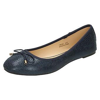 Ladies Spot On Bow Trim Ballerinas F80364- Navy Microfibre - UK Size 5 - EU Size 38 - US Size 7
