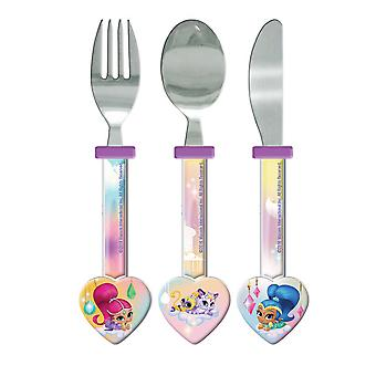 Shimmer And Shine Childrens/Girls Official 3 Piece Cutlery Set
