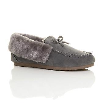 Ajvani womens montone pelliccia lusso flessibile suola Mocassini Pantofole Scarpe invernali