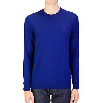 Roberto Cavalli Men's Crew Neck Wool Sweater Blue