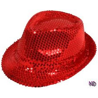Sequin Gangster Hat - Red