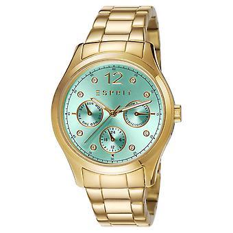 ESPRIT dameshorloge armband horloge Tracy groene roestvrij staal goud ES106702008