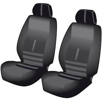 Unitec 84956 Twin Seat covers 6-piece Polyester Black Drivers seat, Passenger seat