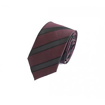 Schlips Krawatte Krawatten Binder 6cm weinrot schwarz gestreift Fabio Farini