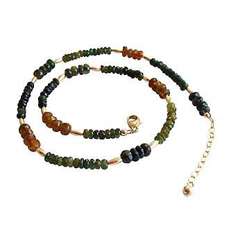 Turmalin halskæde grøn orange turmalin halskæde guld belagte