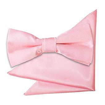 Plaine de rose bébé Satin noeud papillon & le mouchoir de poche définies pour les garçons