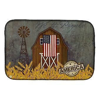 Carolines Treasures  VHA3036DDM Patriotic Barn Land of America Dish Drying Mat