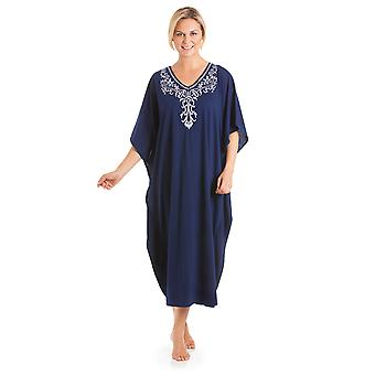 Ladies One Size Kaftans Embroidered Neckline Lace Edging Full Length 813