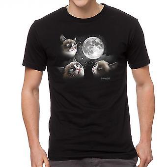 Grumpy Cat 3 Moon Men's Black T-shirt