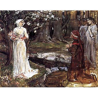 Dante en Beatrice, John William Waterhouse, 50x40cm