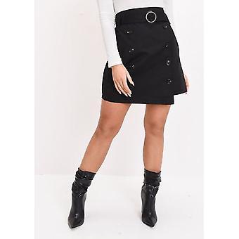 Czarna spódnica linii wysokiej zwężone opasane Mini A