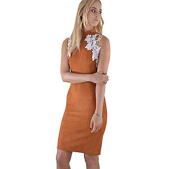 Lovemystyle Brown Suede Dress With White Flower Detail