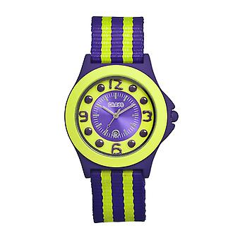 Crayo Carnival Nylon-Band Unisex Watch w/Date - Purple/Lime