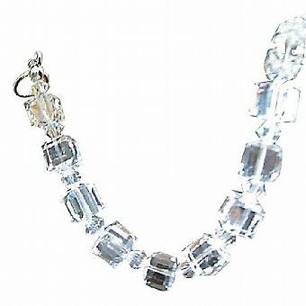 Crystal Cube armband 8mm kubus w / Bicone 4mm helder kristallen van Swarovski armband Schakel