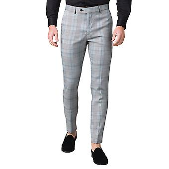Avail London Mens Black and White Suit Trousers Slim Fit Prince of Wales Check