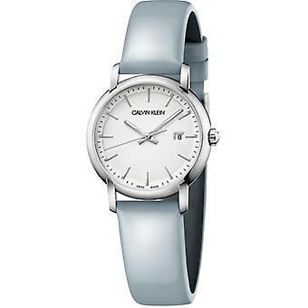 Calvin Klein Established Silver Dial Blue Leather Strap Ladies Watch K9H231V6 32mm