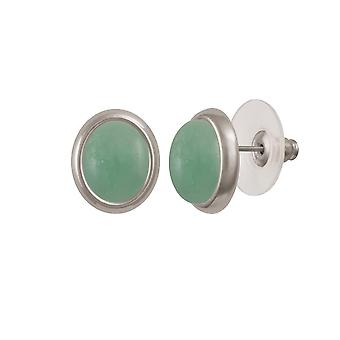 Eternal Collection Minuet Chinese Amazonite Silver Tone Stud Pierced Earrings