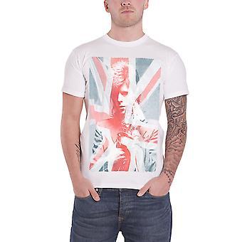 David Bowie T Shirt Union Jack & Sax logo nieuwe officiële Mens slim fit sub kleurstof