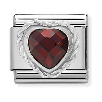 Nomination Classic Heart-Shaped Faceted Red Stone Steel, CZ and 925 Silver Link Charm 330603/005