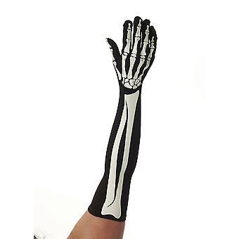Bristol Novelty Unisex Adults Long Skeleton Gloves