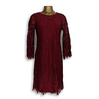 Isaac Mizrahi Live! Kleid Spitze Split Ärmel dunkelrot A309993